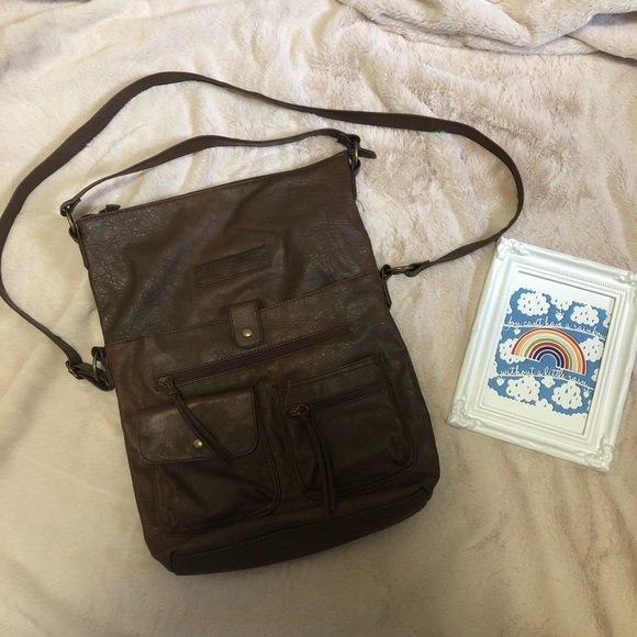 American Eagle Payless Brown Faux Leather Bag